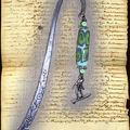 Marque-page surfeur et perle allongée fimo bleu vert
