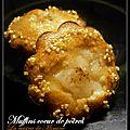 Muffins cœur de poires (pour recycler les blancs d'œufs)