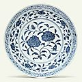 A large rare early Ming blue and white 'peony' dish, Yongle period (1403-1425)