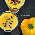 Gaspacho de poivrons jaunes au tabasco et chorizo grillé