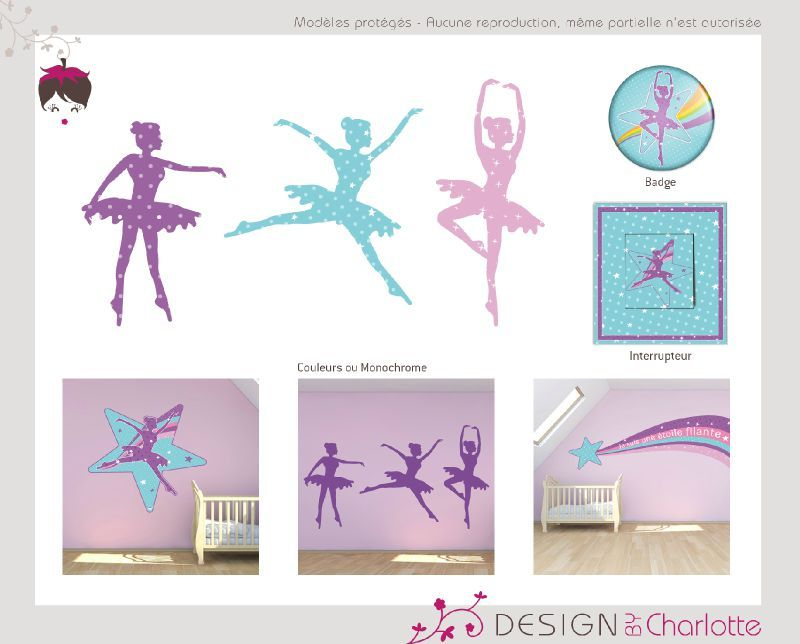stickers th me danseuse toile cr ation de design by charlotte graphiste ind pendante en. Black Bedroom Furniture Sets. Home Design Ideas