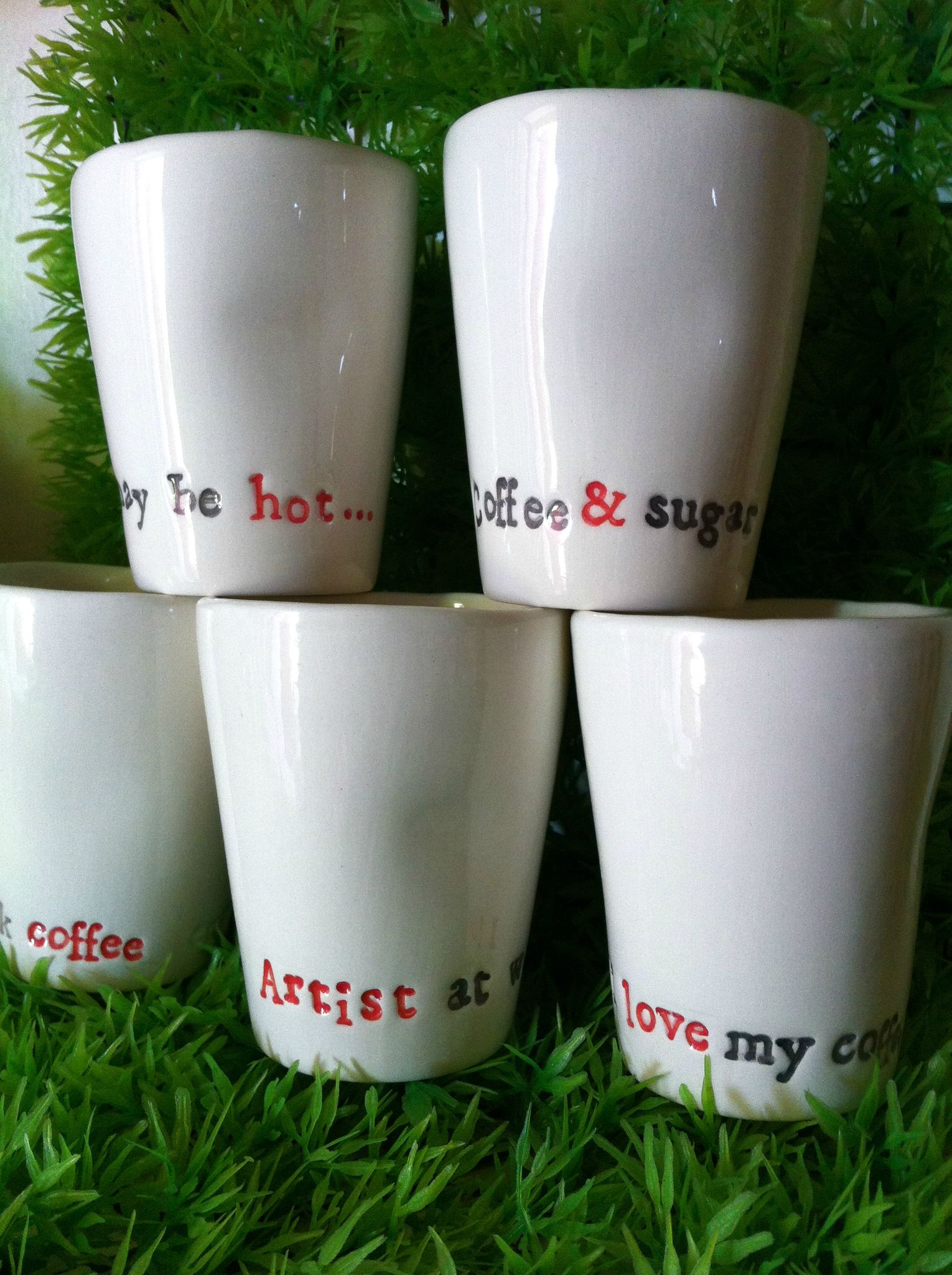 Tasses caf personnalis es enw c ramique - Peinture pour vaisselle ...