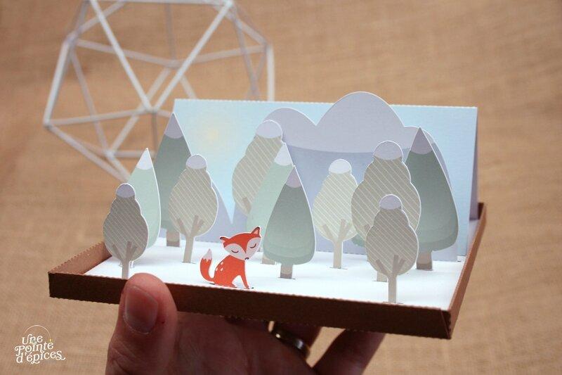 Carte 3D papercut Renard 024