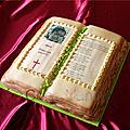 Gâteau livre photo communion
