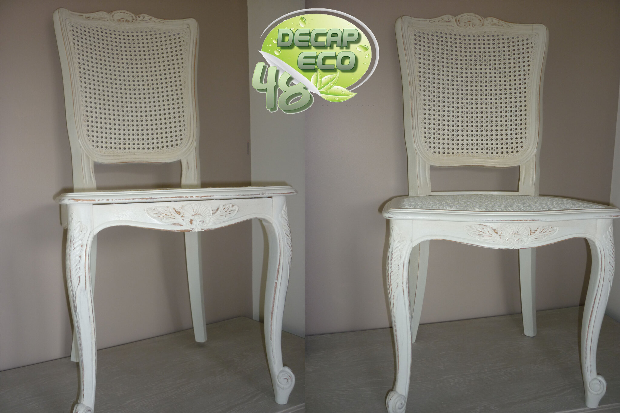 Relooking de chaises can es louis xv decap eco 48 for Repeindre chaise en bois