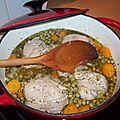 Paupiettes de veau à la cocotte, petits pois/carottes