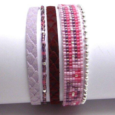 bracelet peyote mauve G