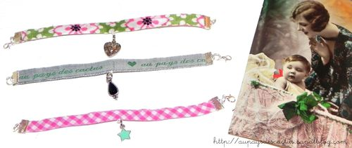 Bracelets en tissu et breloques