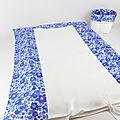 Housse de matelas à langer en tissu liberty betsy bleu lavande - ruban blanc - tissu éponge blanc - table à langer - bébé