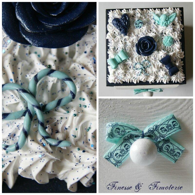 boiite carrée thème vintage bleu menthe