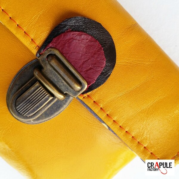 Porte monnaie cuir jaune original creation fermoir clip tirette bi color - artisanal ( CrApule FActOry