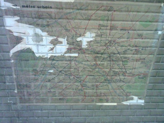 Les Sablons : vieux plan du métro (plus récent)