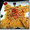 Curry de gambas au lait de coco - poivrons rouges et noix de cajou
