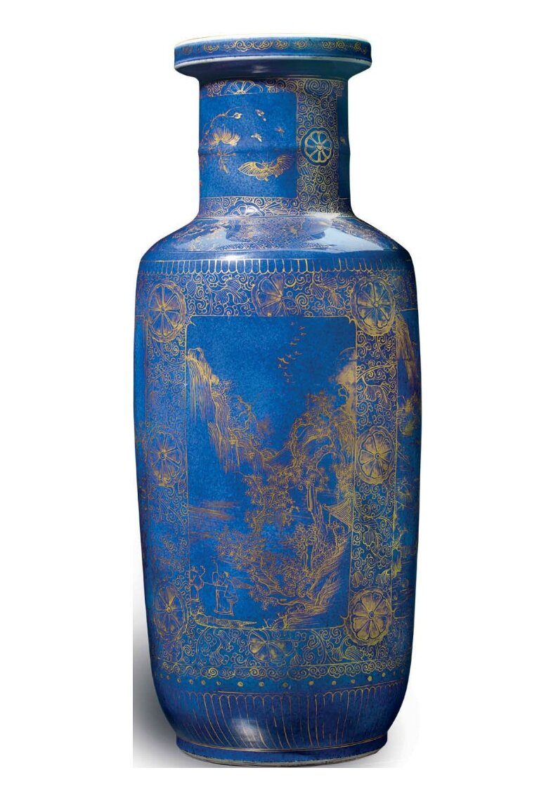 A gilt-decorated powder-blue ground rouleau vase, China, Qing dynasty, Kangxi period (1662-1722)
