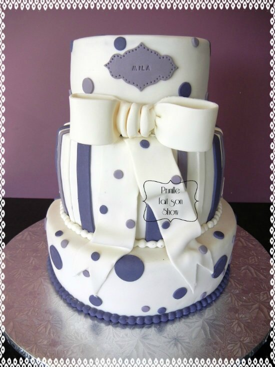 gateau 3 étages violet blanc pois rayures noeud prunillefee