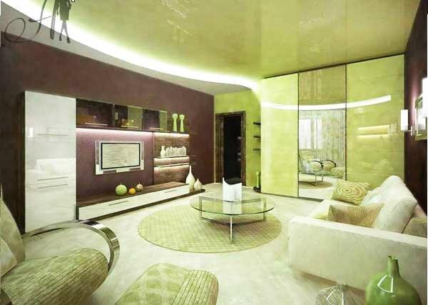 Faux plafond design for Faux plafond salon moderne