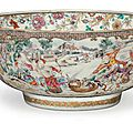 A famille rose punchbowl, circa 1780