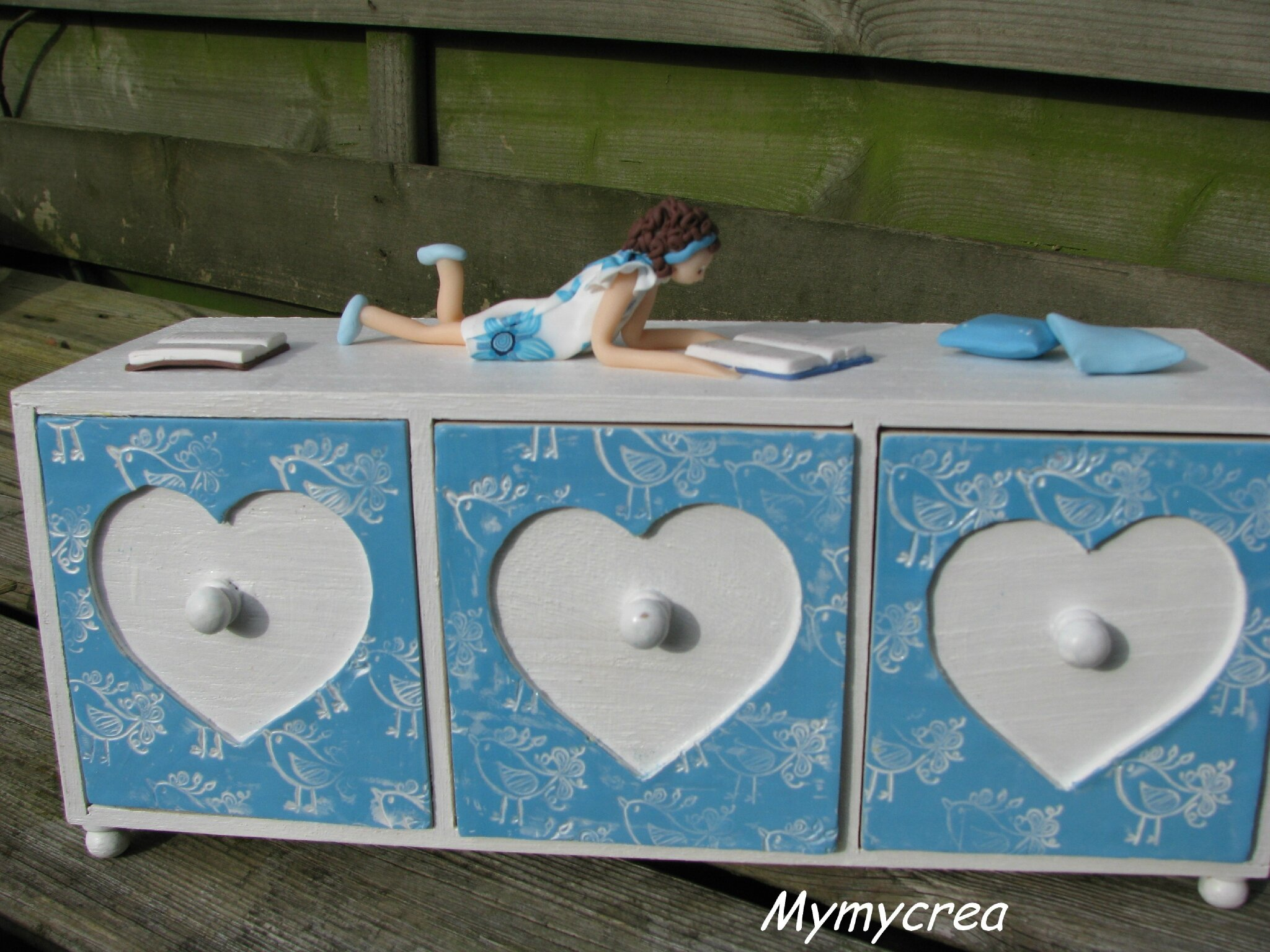 commode bleue vue face