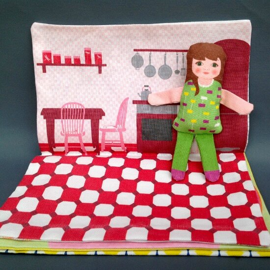 pretty doll fabric book
