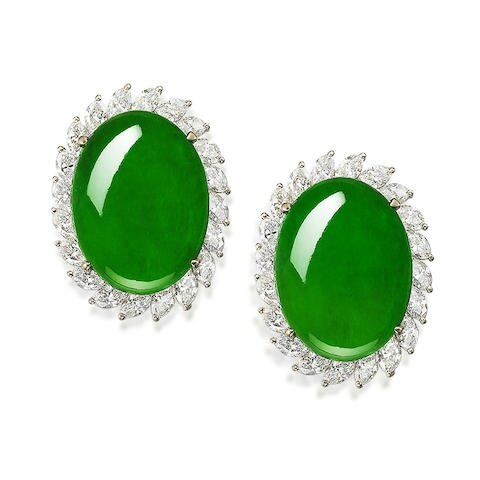 An impressive pair of jadeite and diamond earrings