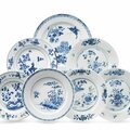 Seven chinese blue and white dishes, 18th-19th century