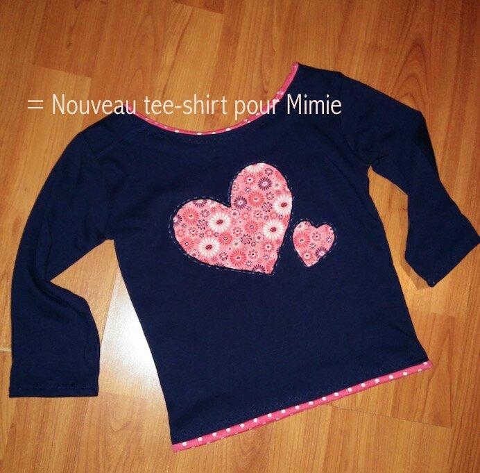 Tee-shirt marine Coeur corail