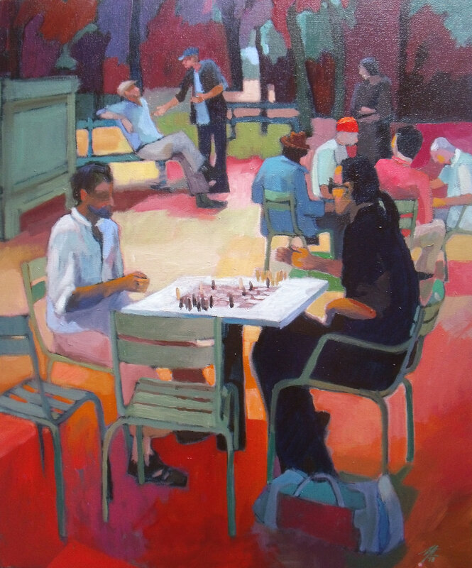 2014- Jardin du Luxembourg- Le jeu d'échecs- Huile 61x50cm