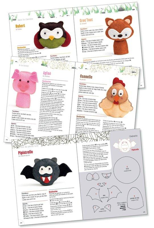 livre loisirs créatifs-marionnettes à doigts en feutrine_véronique DECOURTY- Dame la Lune_éditions Carpentier