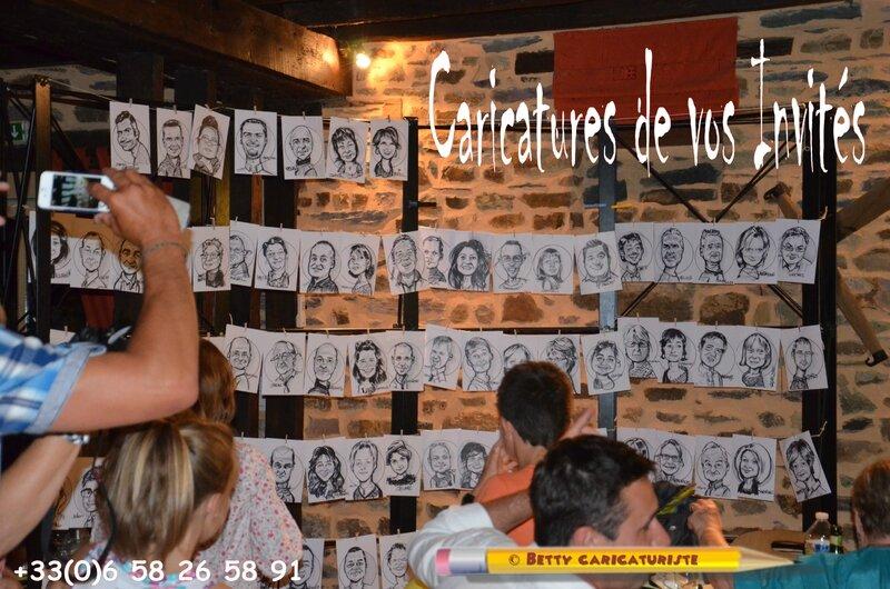 marque-place invités caricatures réception mariage