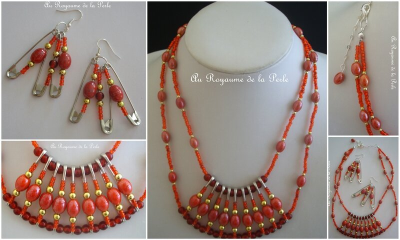 Montage collier rouge et or B