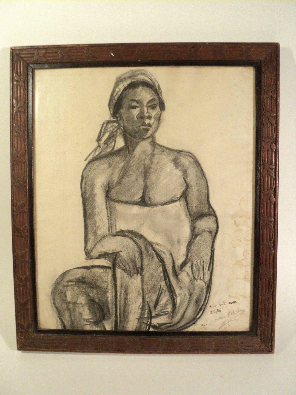 Dessin Portrait Orientaliste Femme Africaine
