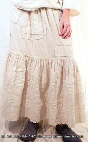 2-MP French cotton eyelet Cecily skirt with all arround patches , Goose feather
