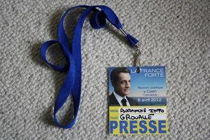 accréditation presse avranches infos meeting Nicolas Sarkozy Caen 2012