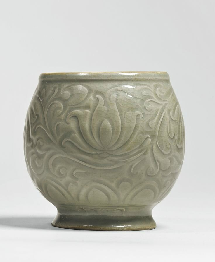 A 'Yaozhou' celadon carved jar, Song dynasty