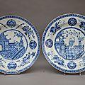 2 plats en chine blanc bleu, 18ème siècle
