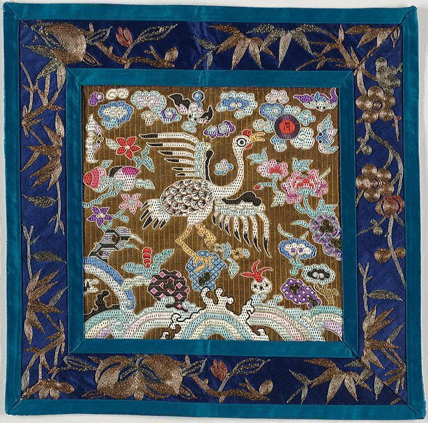 Pair of rank badges for a 3rd rank civil official - rooster, Viet Nam, Nguyen dynasty, early 20th century