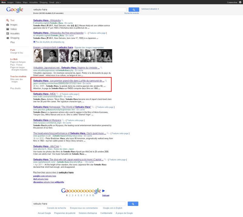 Canalblog Google recherche Setsuko Hara