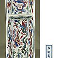 A fine Mingwucai'dragon and phoenix' pen-tray, Wanli six-character mark within a rectangle and of the period (1573-1619)