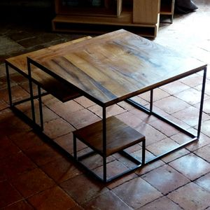 table basse chene metal (4)