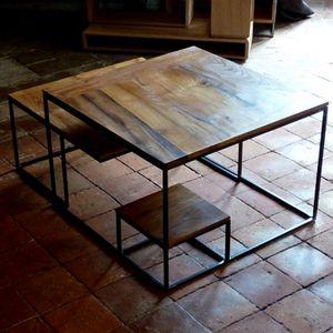 table basse chene metal (4)