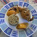 Cailles roties, farçies de raisin et d'abricots secs