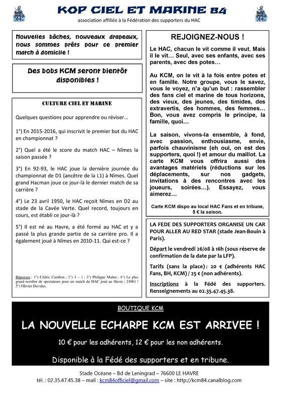 Feuille d infos HAC - Nîmes 05