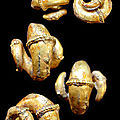 Pair of lovely champa earrings in ram horn form; bronze overlaid with sheet gold. circa 3rd to 7th century a.d. vietnam