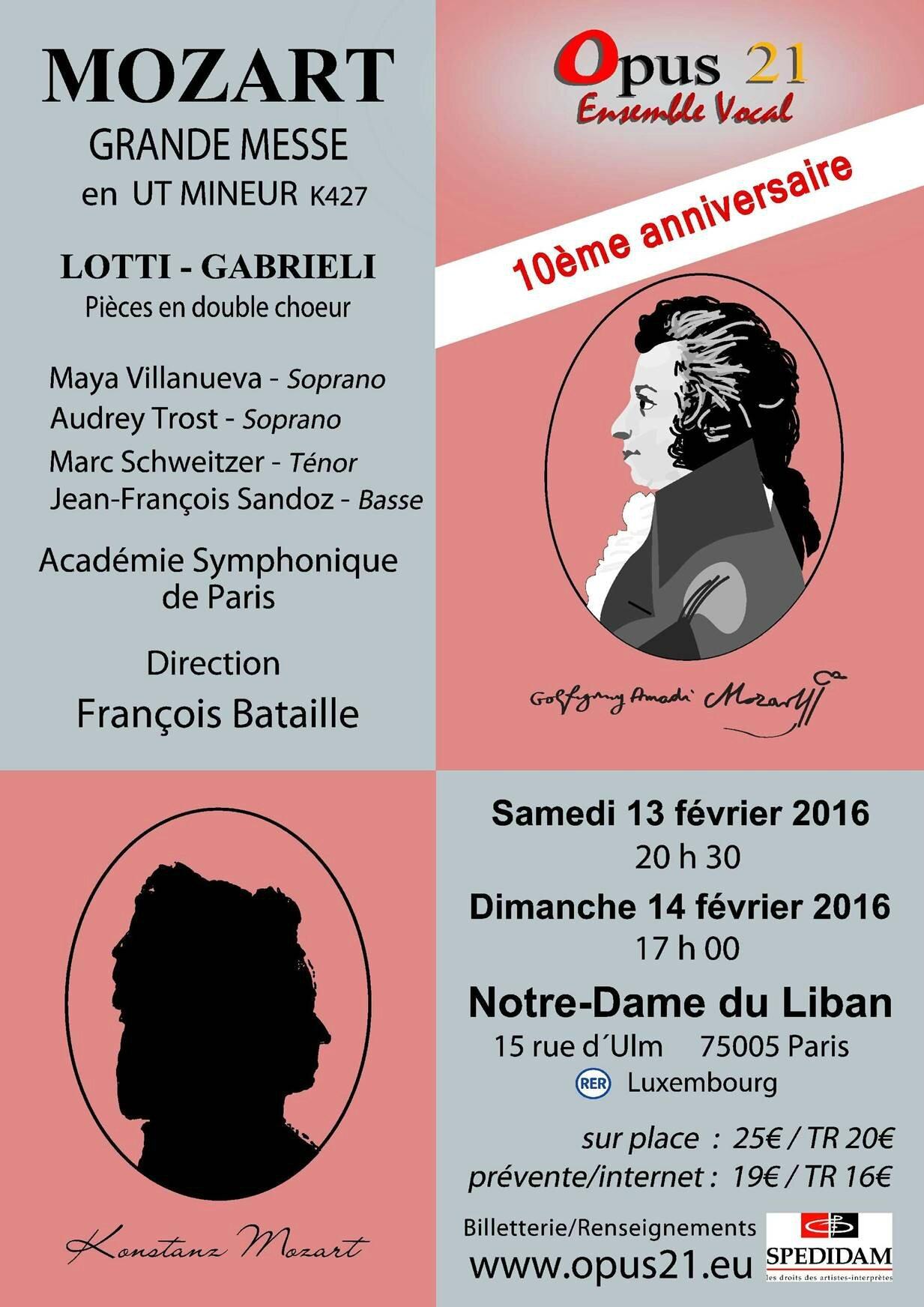 Concert Opus 21 : Mozart/Lotti/Gabrieli les 13 et14 février à N-D du Liban, Paris 5e