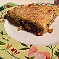 Tarte aux poireaux, oignons et lardons