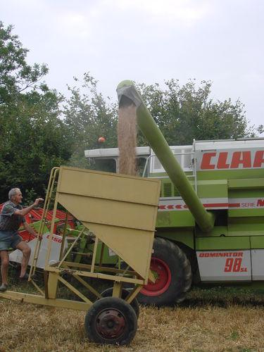 2008 09 11 La moissonneuse qui vide le grain dans la trémis
