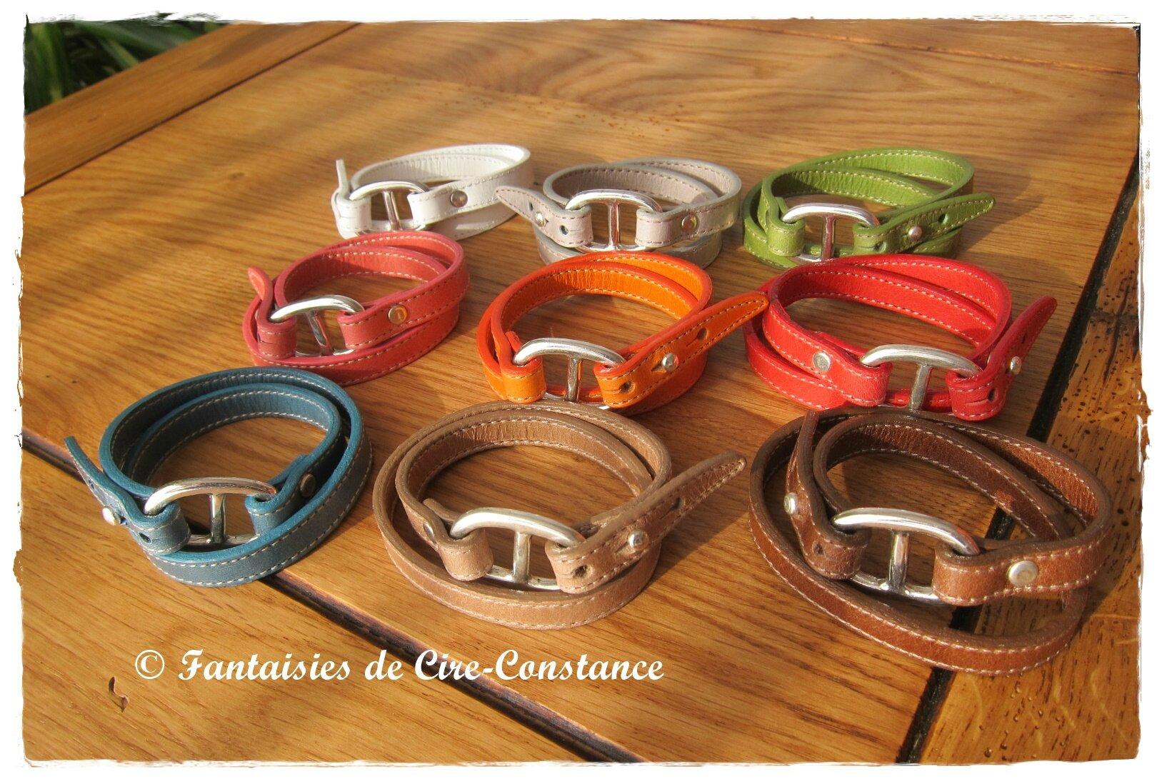 1.Bracelet cuir double tour