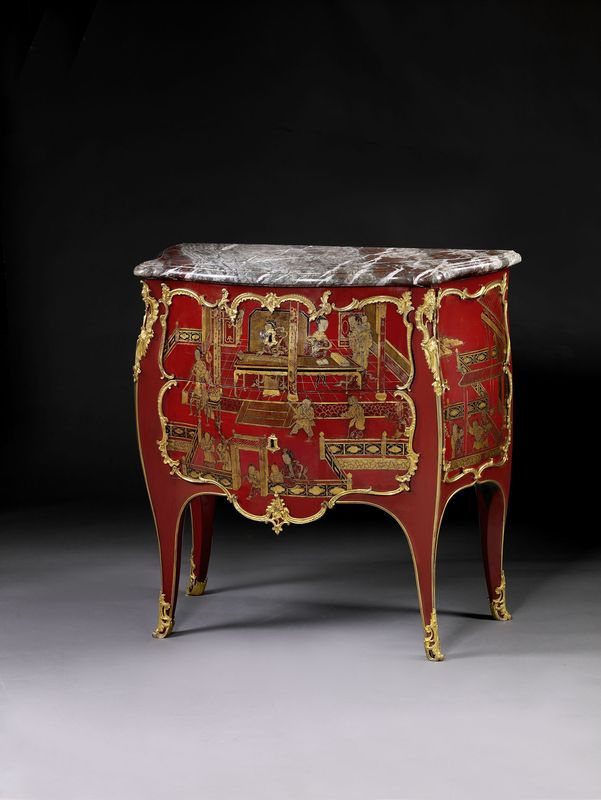 petite commode deux tiroirs en laque de chine rouge epoque louis xv alain r truong. Black Bedroom Furniture Sets. Home Design Ideas