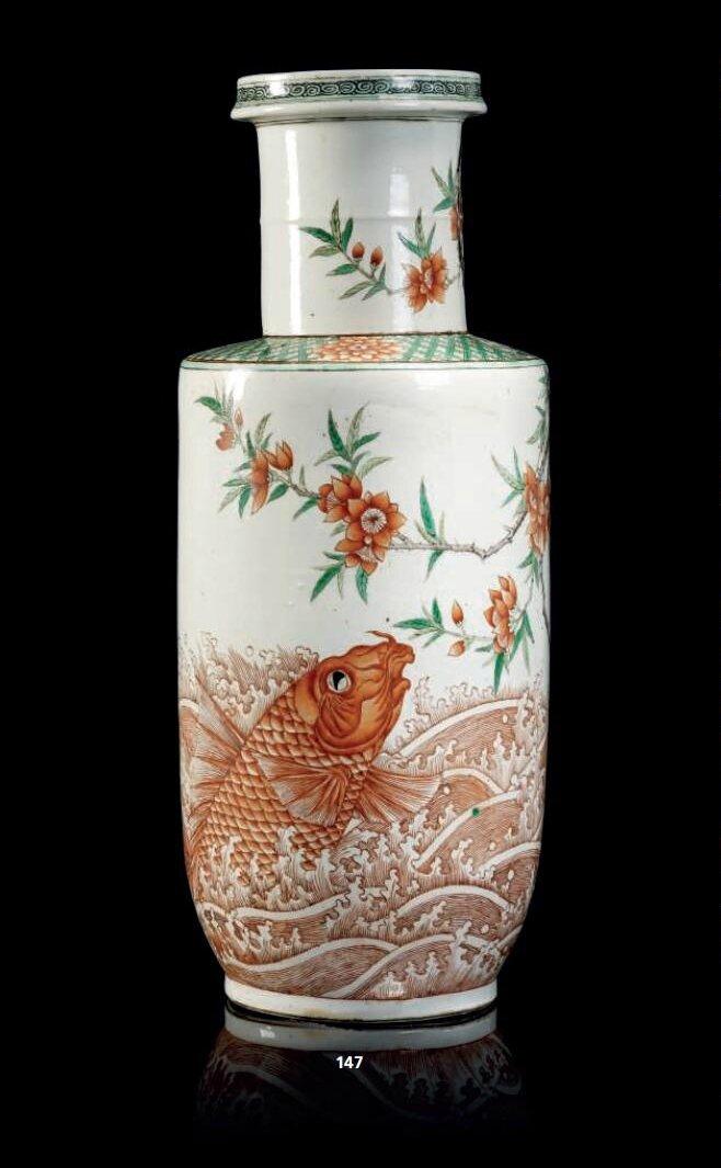 Vase rouleau en porcelaine de la famille verte, Chine, Dynastie Qing, XIXème siècle