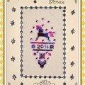 Carte Vœux Bonne Année Brodée Boule allongée cheval 2013